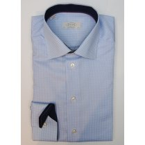 ETON Mens Cotton Blue Check Long Sleeved Trimmed Shirt