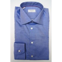 ETON Mens Cotton Blue Patterned Slim Long Sleeved Shirt