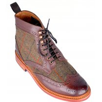 CHATHAM Mens Leather and Harris Tweed Welted Boot
