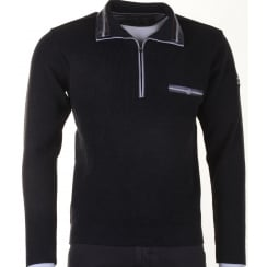 1/4 Zip Knitwear with Collar in Charcoal or Blue