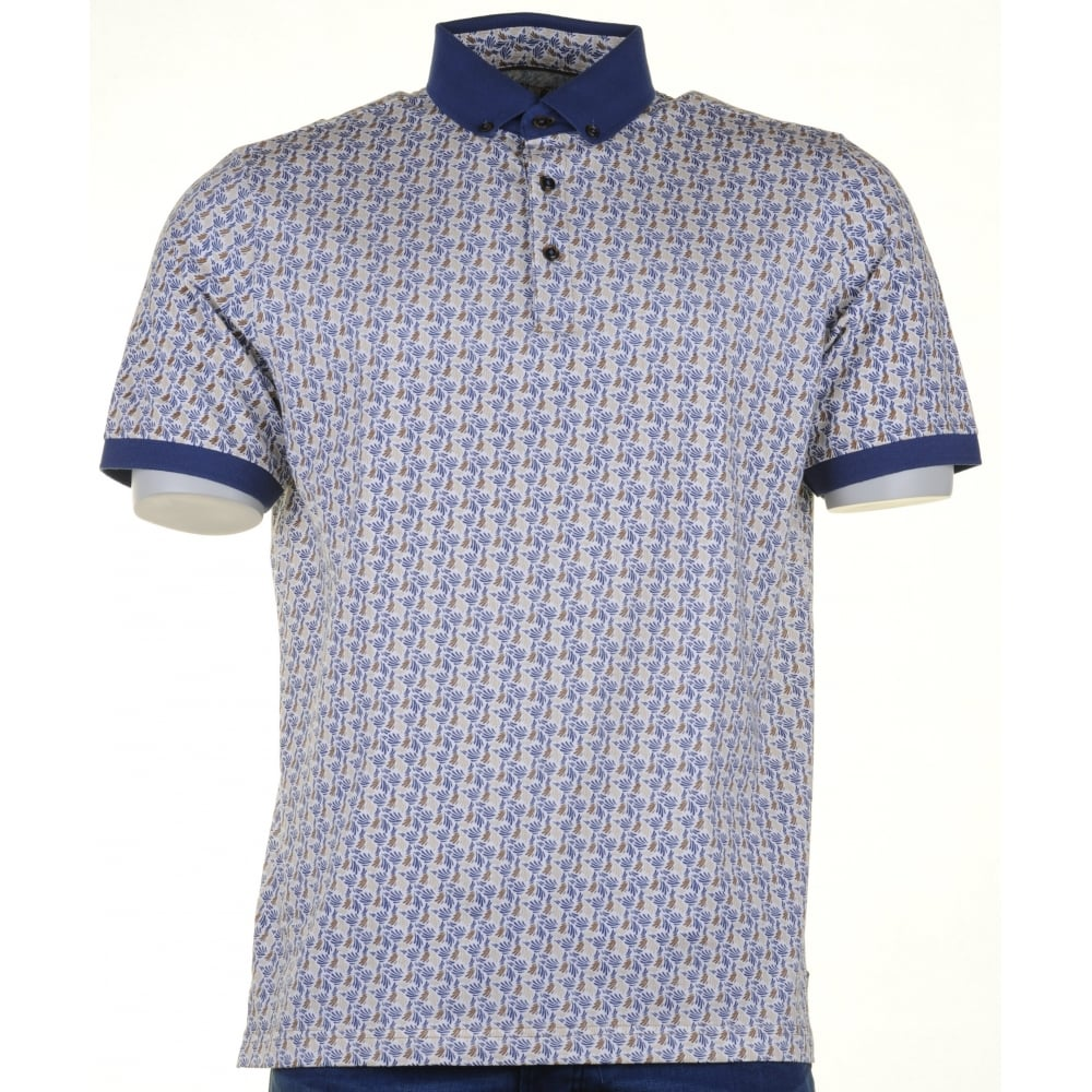Baileys patterned cotton polo shirt from armstrongs of for Stiff collar polo shirt