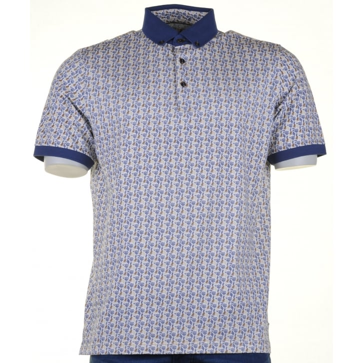BAILEYS Cotton Patterned Polo with Button Collar