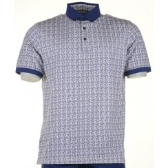 Cotton Patterned Polo with Button Collar