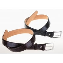 Black or Brown Crocodile Style Leather Chrome Buckle Belt
