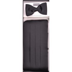 Black Satin Cummerbund and Bow Tie Set
