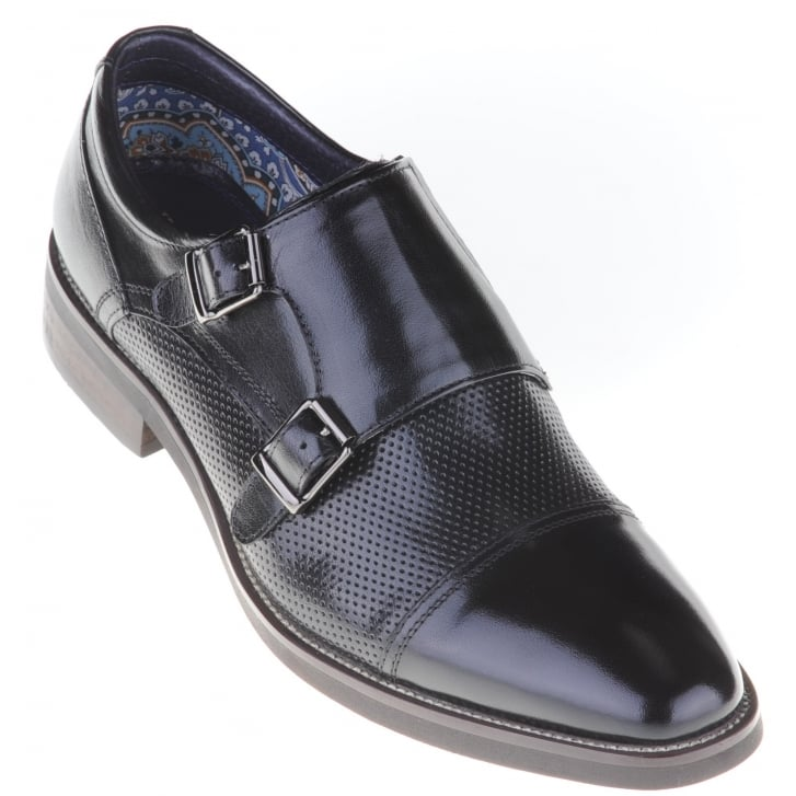 JUSTIN REECE Black Slip on Shoe with Buckles