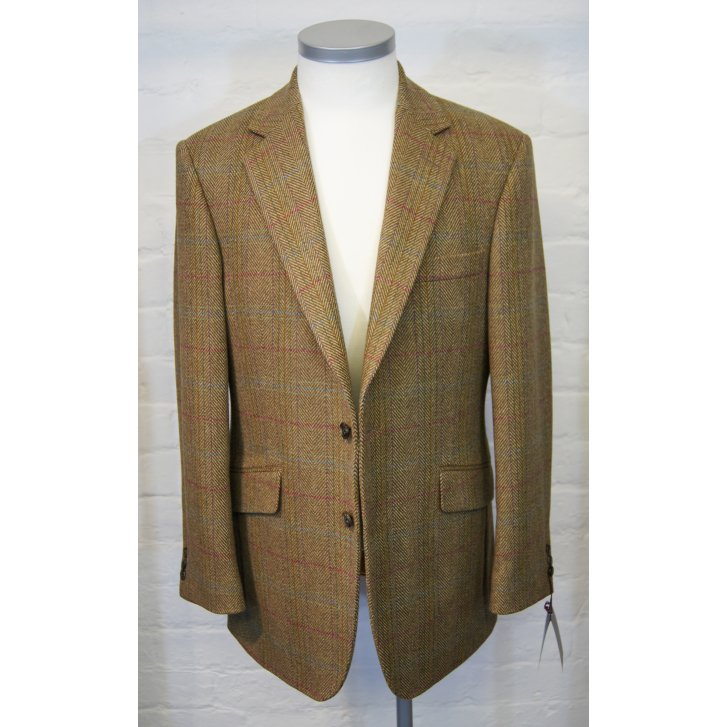 BLADEN Mens Brown Herringbone Tailored Tweed Jacket