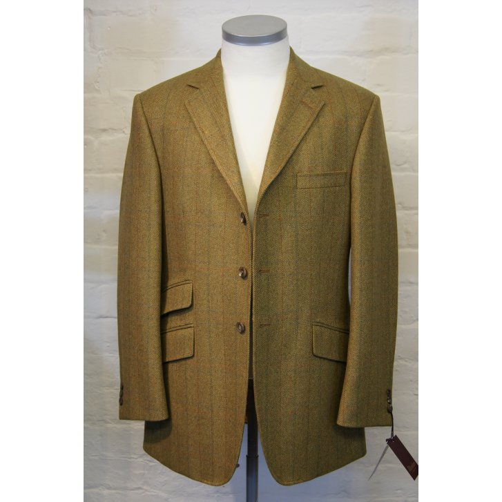 BLADEN Mens Brown Tweed Thee Button Centre Vent Hacking Jacket