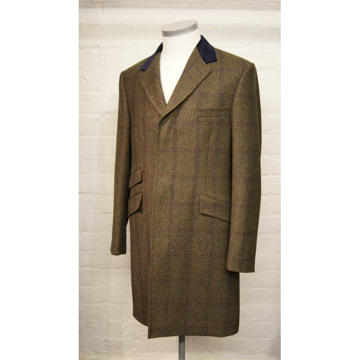 BLADEN Mens Quality Wool Fly Fronted Green Tweed Overcoat