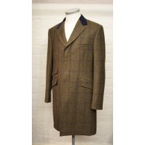 Mens Quality Wool Fly Fronted Green Tweed Overcoat