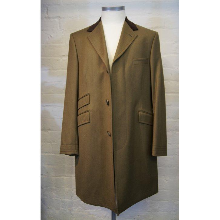 BLADEN Mens Velvet Collared Brown Single Breasted Covert Coat