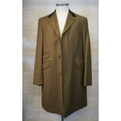 Mens Velvet Collared Brown Single Breasted Covert Coat