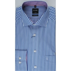 Blue and White Bengal Stripe Cotton Shirt