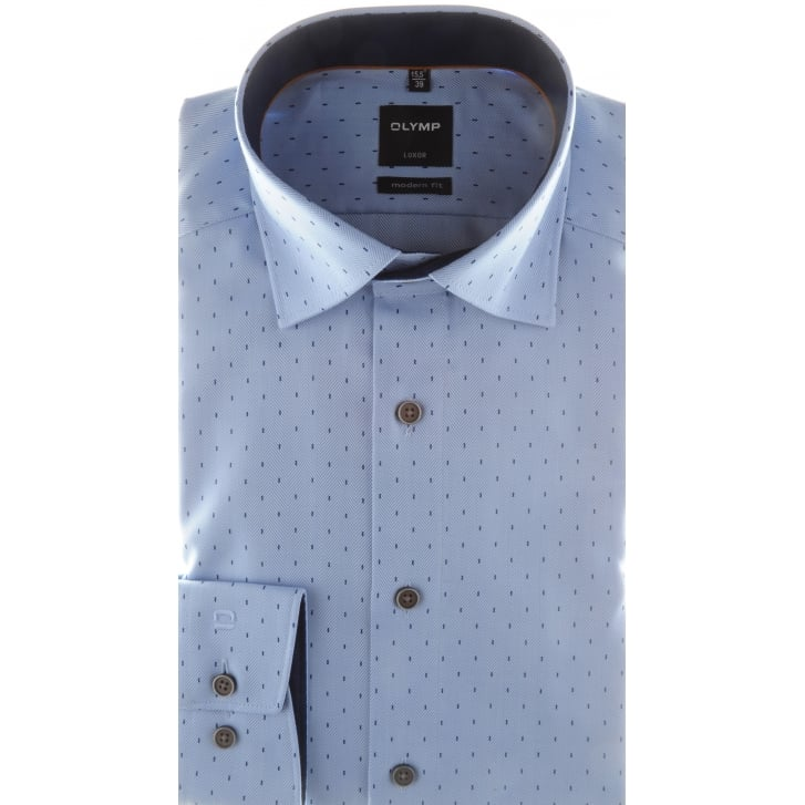 OLYMP Blue Herringbone Patterned Cotton Shirt