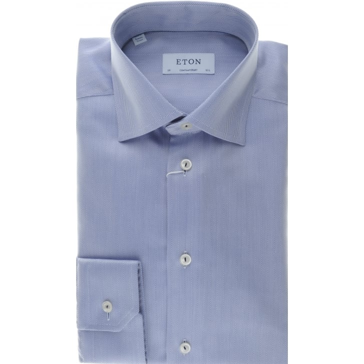 ETON Blue Herringbone Tailored Cotton Shirt