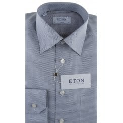 Blue or Grey Patterned Cotton Shirt in a Classic Fit