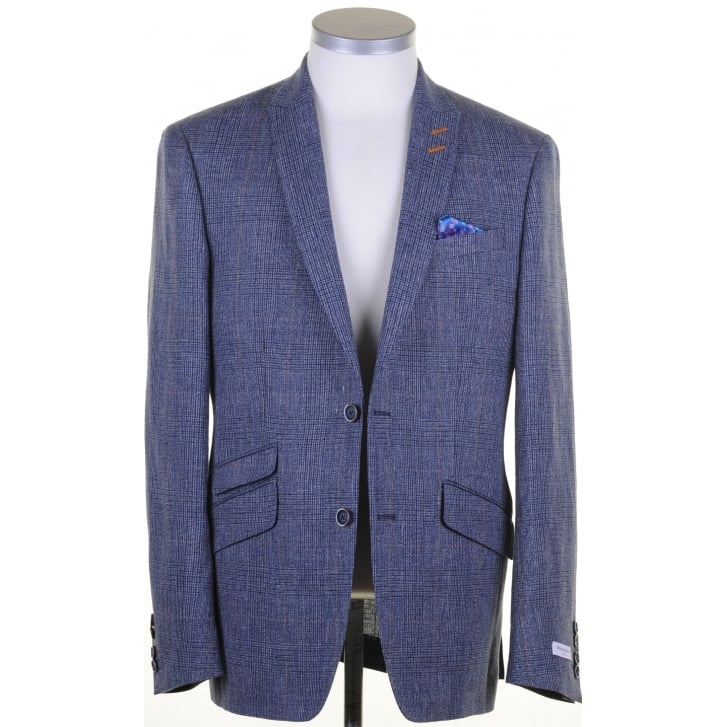 WITHOUT PREJUDICE Blue Tailored Linen Prince of Wales Check Buggy Lined Jacket