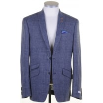 Blue Tailored Linen Prince of Wales Check Buggy Lined Jacket