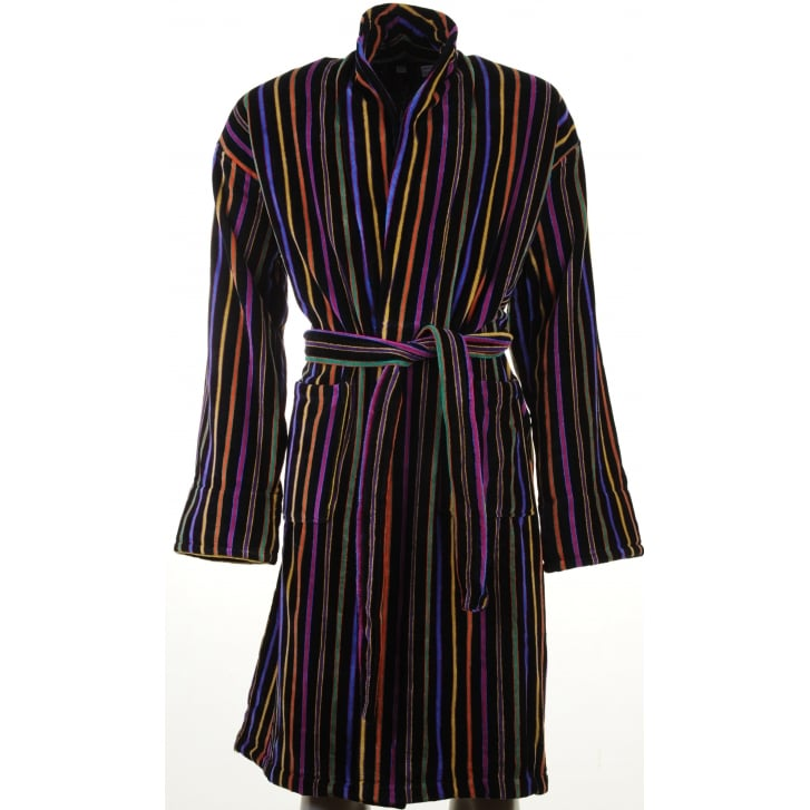 BOWN Mens Black and Multi Striped Velour Cotton Dressing Gown