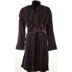 Mens Black and Multi Striped Velour Cotton Dressing Gown