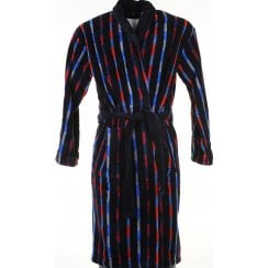 Mens Black Striped Velour Cotton Dressing Gown