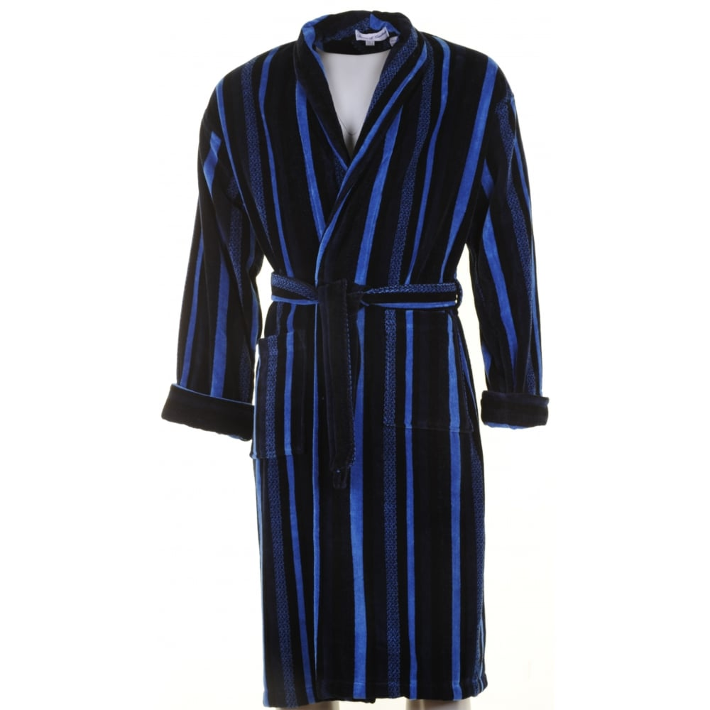 bown navy stripe velour dressing gown from armstrongs of. Black Bedroom Furniture Sets. Home Design Ideas