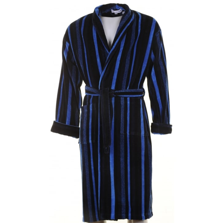 BOWN Mens Navy Blue and Black Striped Velour Cotton Dressing Gown