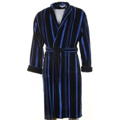 Mens Navy Blue and Black Striped Velour Cotton Dressing Gown