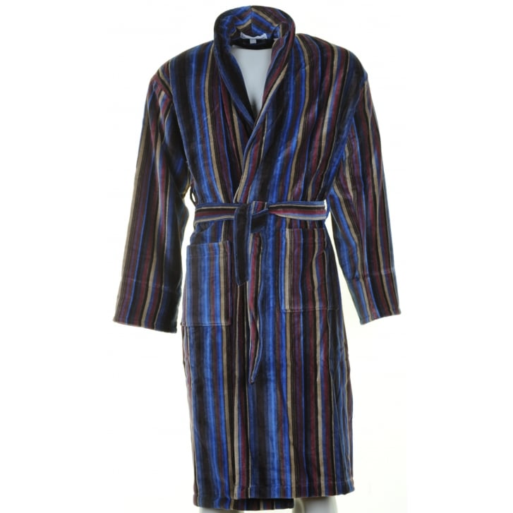 BOWN Mens Navy Multi Striped Velour Cotton Dressing Gown