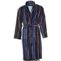 Mens Navy Multi Striped Velour Cotton Dressing Gown
