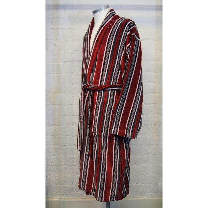BOWN Mens Pure Cotton Velour Striped Tie Waist Dressing Gown - BOWN ...