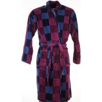 Mens Square Pattern Velour Cotton Dressing Gown