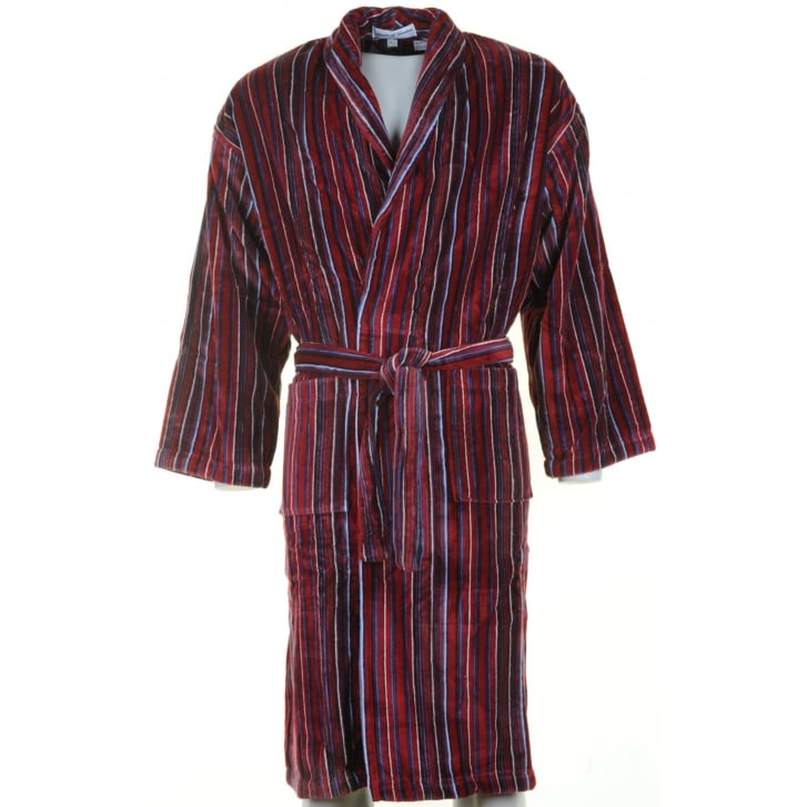 BOWN Mens Wine Striped Velour Cotton Dressing Gown