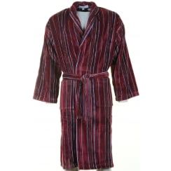 Mens Wine Striped Velour Cotton Dressing Gown