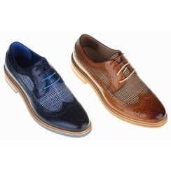 Brogues With Cloth Insert in Brown or Navy