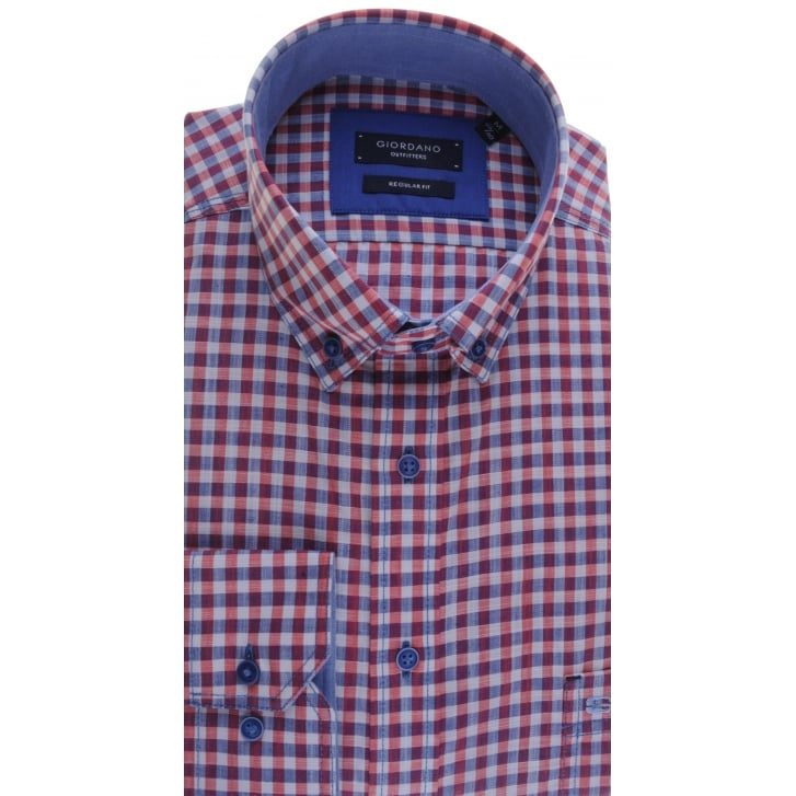 GIORDANO Button Down Collar Cotton Shirt in a Navy and Red Gingham