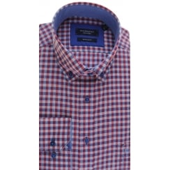 Button Down Collar Cotton Shirt in a Navy and Red Gingham