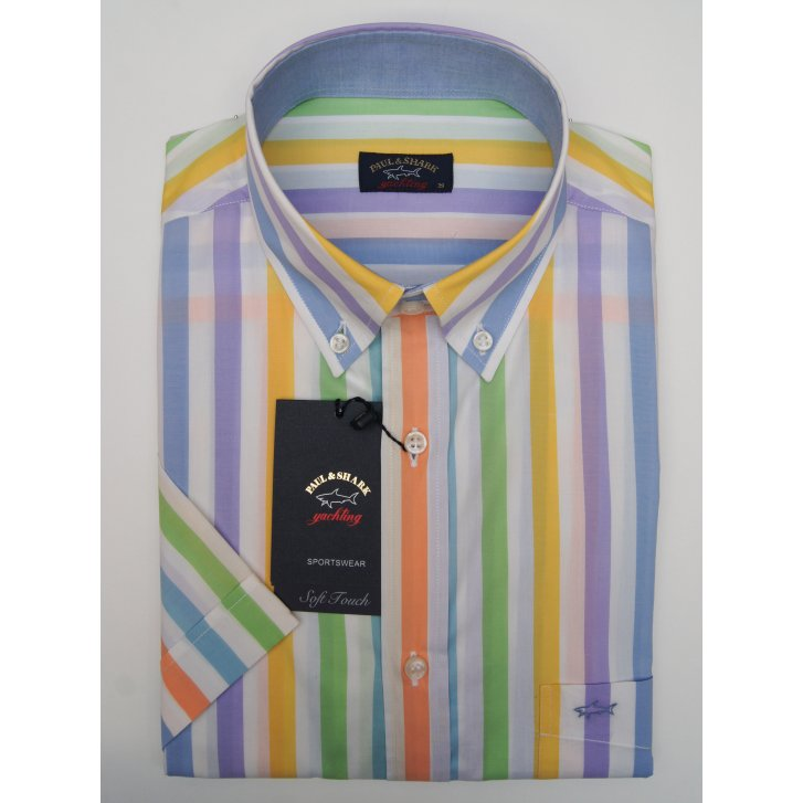 PAUL & SHARK Button Down Collar Cotton Striped Short Sleeved Shirt