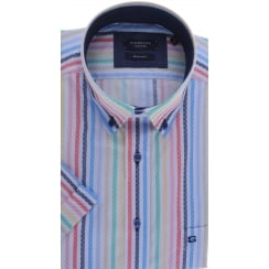 Button Down Collar Striped Cotton Short Sleeved Shirt