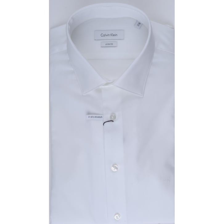 CALVIN KLEIN Slim Fitting White Cotton Shirt