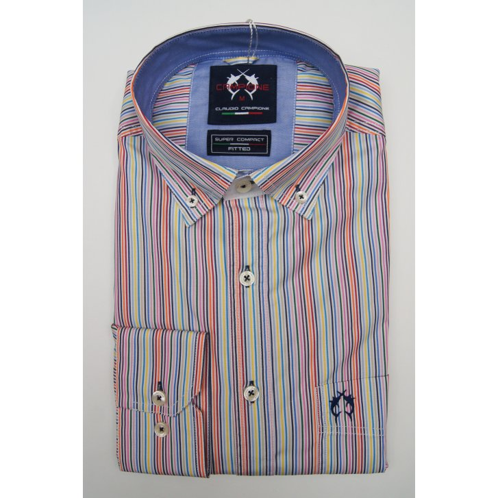 CAMPIONE Mens Button Down Slim Casual Cotton Multi Stripe Shirt
