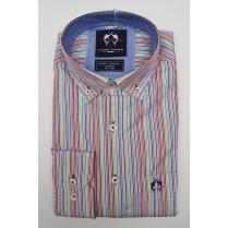 Mens Button Down Slim Casual Cotton Multi Stripe Shirt