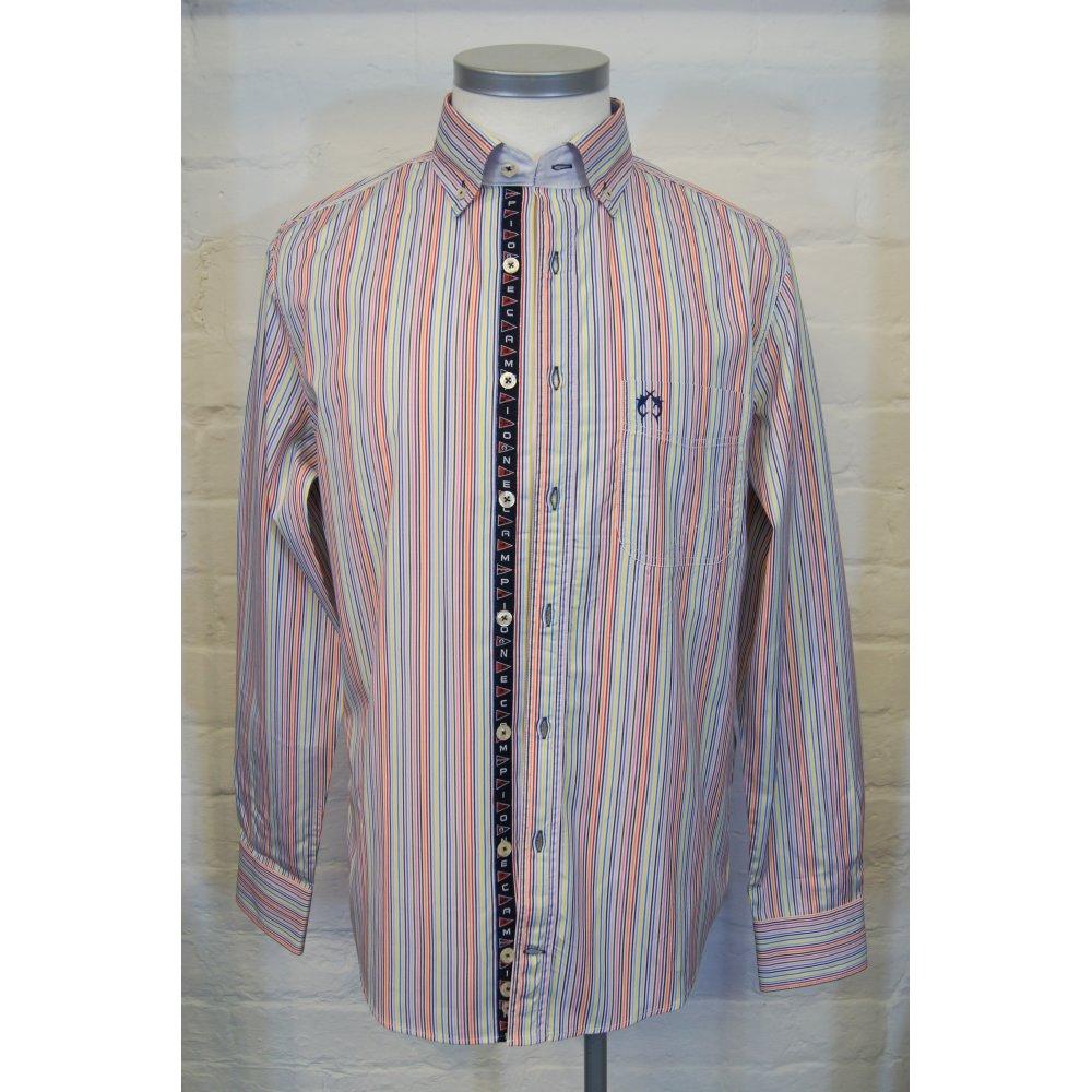 Campione mens button down slim casual cotton multi stripe for Striped button down shirts for men
