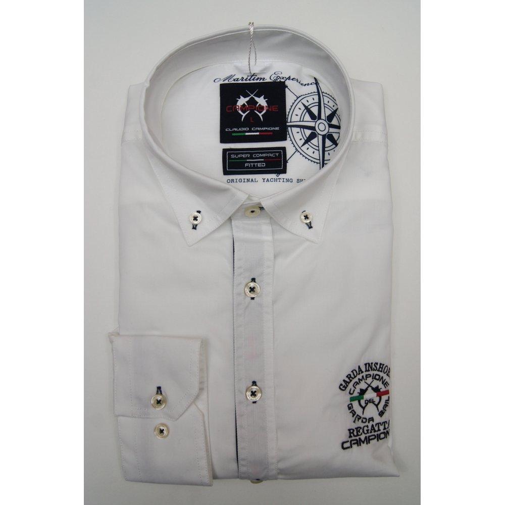 Campione mens button down slim casual cotton white shirt for White button down shirt mens