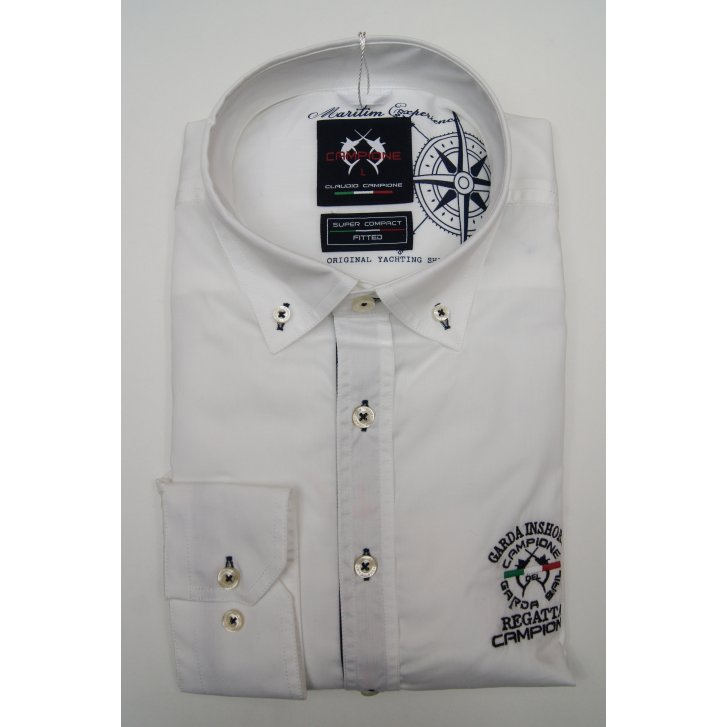 CAMPIONE Mens Button Down Slim Casual Cotton White Shirt