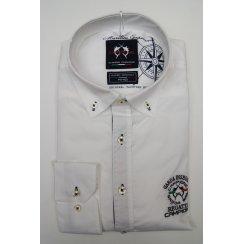 Mens Button Down Slim Casual Cotton White Shirt