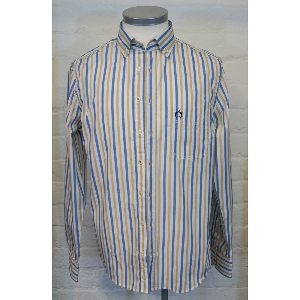 Campione mens tailored button down collar cotton stripe for Button down collar dress shirts