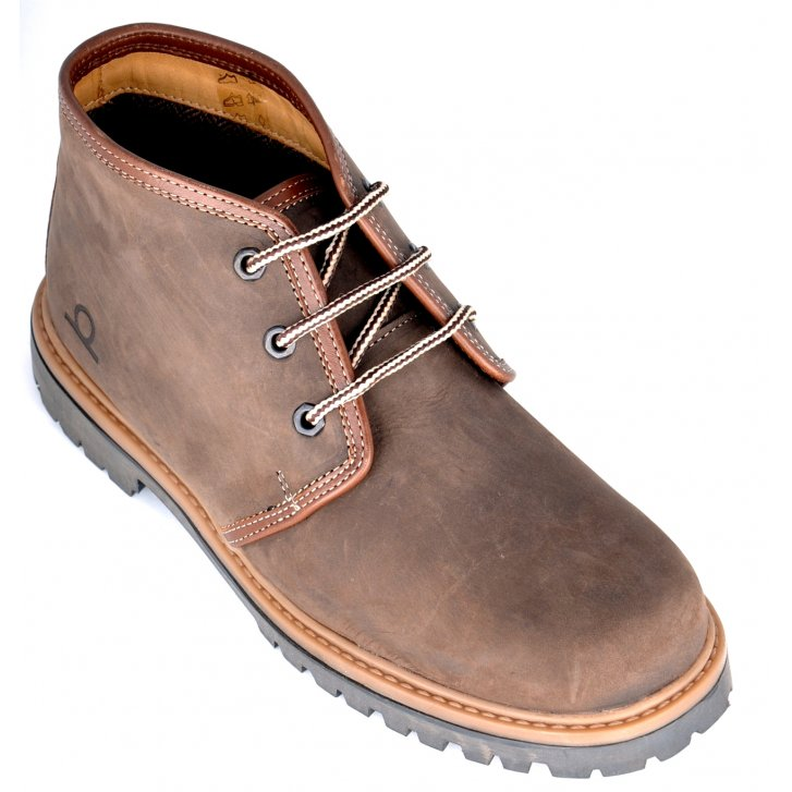 CHATHAM Brown Suede Laced Boot with Leather Collar