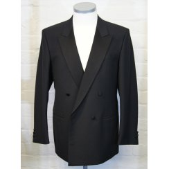Classic Fitting Double Breasted Dinner Suit with Satin Lapels and Pleated Trousers