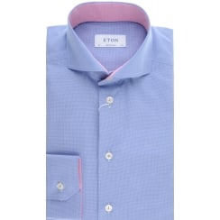 Cotton Blue Shirt with Cutaway Collar